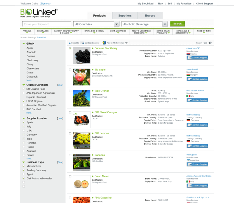 BioLinked com: Organic Food Suppliers, Producers